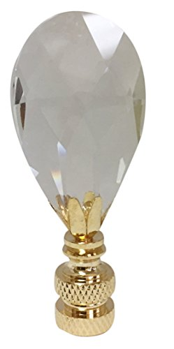 (Royal Designs Radiant Teardrop Clear Crystal Lamp Finial for Lamp Shade-Polished Brass Base)