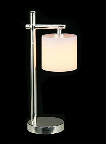 Melody Jane Dollhouse Chrome Modern Table Lamp Drum Shade Miniature Electric Lighting 12V