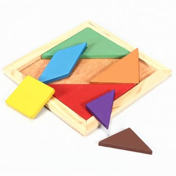 Man Friday Rainbow Color Wooden Tangram 7 Piece Puzzle Brain Teaser Puzzle MF MF0974614