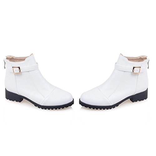 Heel Boots Fashion Booties Winter Office White Zipper For Chunky Boots Leatherette Wedding Ankle amp; Women's Round AIURBAG Spring Bootie Shoes Toe Boots cWOwHvqnSY