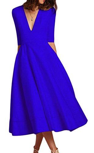 Forma Blu Collo Alta Peplum Vestito Vita Del Donne In V Cromoncent Dall'oscillazione Mezzo Manicotto Sottile v6WBWFp