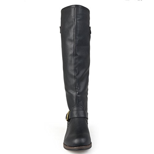 Journee Collection Womens Regular Sized, Wide-Calf and Extra Wide-Calf Studded Knee-High Riding Boot Black