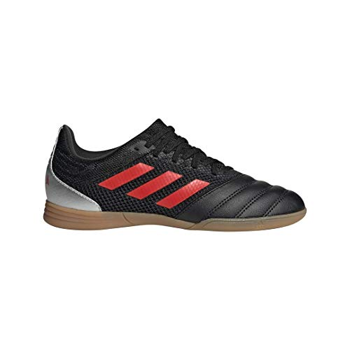 adidas Unisex Copa 19.3 Indoor SALA Soccer Shoe, Black/hi-res red/Silver Metallic, 13.5K M US Little Kid
