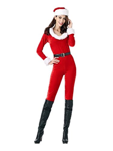 Leright Women's Santa Clause Costume Jumpsuit Christmas Fantasy Holiday Costume, Red, One Size fit for XS-M ()