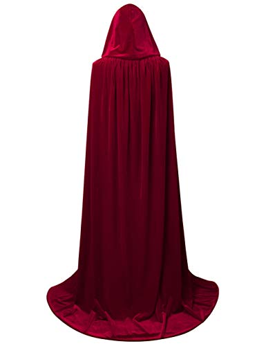 GRACIN Adult Costume Hooded Cloak, Unisex Full Length Velvet Cape for Halloween Party (One Size, Wine ()
