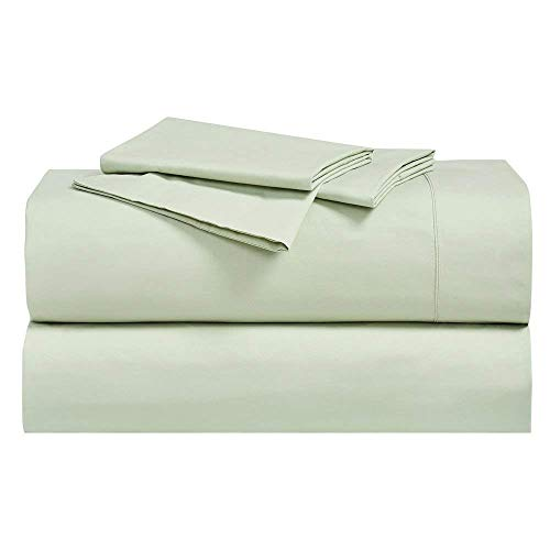 Abripedic Crispy Percale Sheets, 300-Thread-Count, 4PC Solid Sheet Set, 100% Cotton, 22 Inch Super Deep Pocket, Queen, Celery