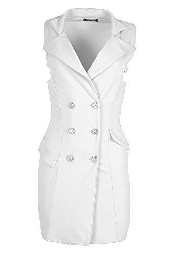 Womens Ladies Plain Golden Button Tuxedo Wrap Coat Collar a Line Dress Cardigan Navy Dinner Dress White