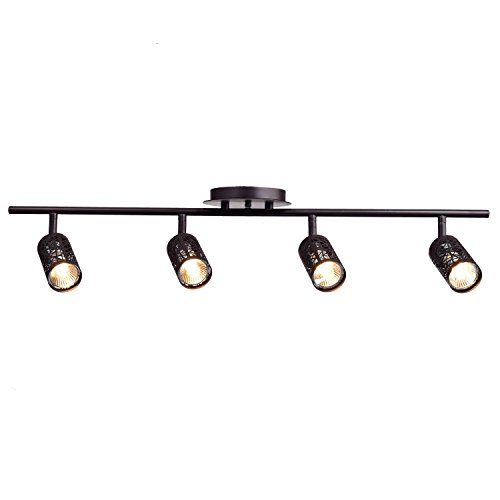 CLAXY Ecopower Vintage Oil Rubbed Bronze Metal Track Lighting Ceiling Light Fixture (Industrial Track Lighting)