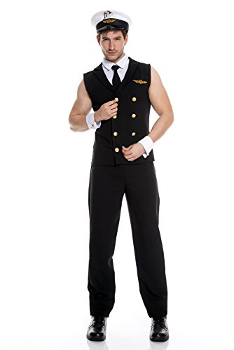 Mens Pilot Costumes (Music Legs Men's Airline Pilot, Black, Large)