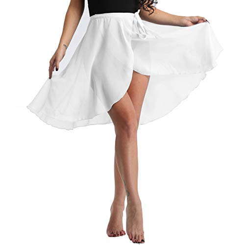 FEESHOW Womens Chiffon HiLow Long Dance Skirt Lyrical Dance Costumes White with Waist Tie One Size