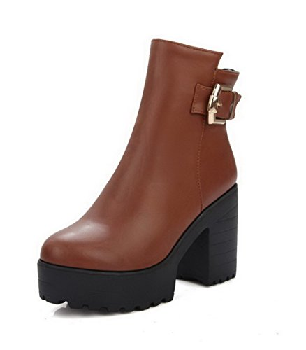 Low Top Toe Heels Zipper Brown Boots Solid High Round Closed Women's AgooLar pqxAwT5BZw