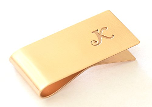 Personalized Bronze monogram money clip by Metalopia