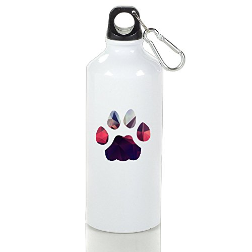 SIHA Dos LOVA Gorgeous Footprints Aluminum Sport Water Bottle, Great For Outdoor And Sport Activities. Metal Hook On The Top 600ml