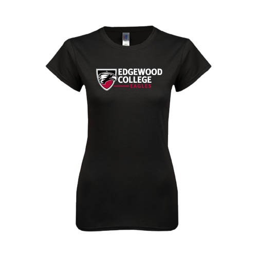 Edgewood Next Level Ladies Softstyle Junior Fitted Black Tee 'Edgewood College'
