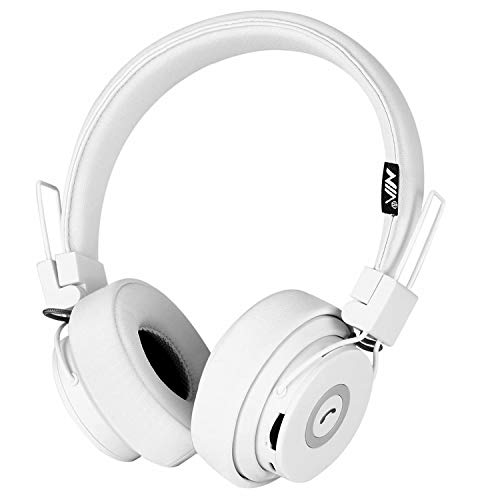 Bluetooth Headphones Over Ear, Hi-Fi Stereo Foldable On-Ear Headset with Microphone, APP to Control Headphones, Soft Earmuffs Support SD Card FM Radio Wired and Wireless Headset for Kids Adults, White