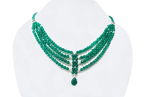 Designer Green Onyx Beads Necklace with Sterling Silver findings by Anushruti - Gemstone Jewelry 16