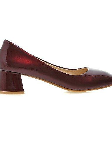 GGX/Damen Schuhe Patent Leder Sommer/quadratisch Fuß Heels Office & Karriere/Casual geschoben Ferse andere schwarz/rot/grau gray-us5 / eu35 / uk3 / cn34