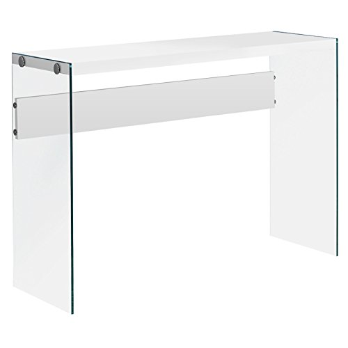 Monarch specialties I 3288, Console Sofa Table, Tempered Glass, Glossy White, 44