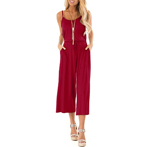 QIQIU Womens New V Neck High Waisted Sling Beach Jumpsuit Summer Casual Sleeveless Solid Wide Leg Playsuits Red