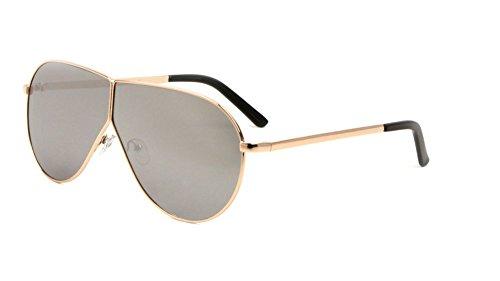 (XL Oversized Split Shield Flat Top Aviator Sunglasses (Rose Gold Frame, Silver Mirror))