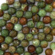 - Natural Faceted Green Opal Round Beads Gemstone 15