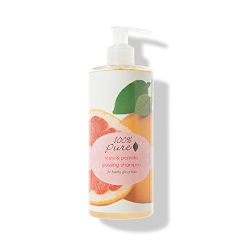 100% PURE Yuzu & Pomelo Glossing Shampoo (13 Fl Oz), Sulfate Free Shampoo, Boosts Hair Shine, Gentle Cleansing, Smooth, Glossy Finish, Made with Coconut Oil, Citrus Fruits