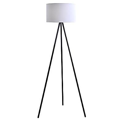 "Catalina Lighting 19973-000 Modern Metal Tripod Floor Lamp with White Linen Shade for Living, Bedroom, Dorm Room, Office, 61.25"", Classic Black"