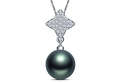 (9 mm Tahitian Cultured Pearl and 0.506 carat total weight diamond accent Pendant in 14KT White Gold)
