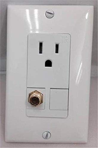 (Certicable Custom Designed White Single Gang Wall Plate - 110V Power + Coax Cable TV F-Type )