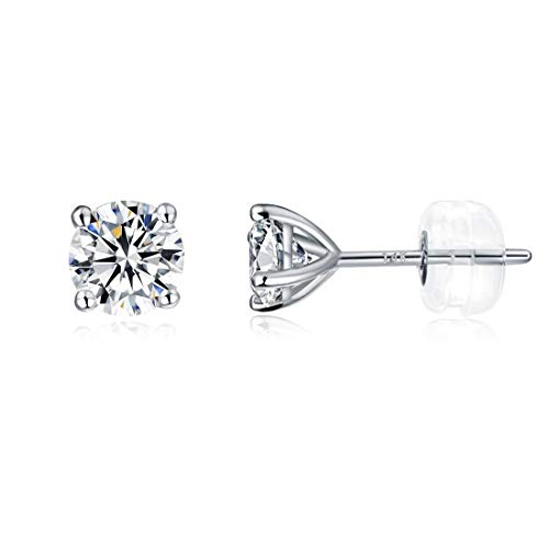 Gold Diamond Created Opal Earrings - 14K White Gold Earrings 4mm CZ Created Diamond Stud Earrings for Women Men Hypoallergenic Jewelry Gifts