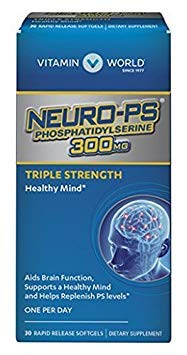 Vitamin World Neuro-PS Phosphatidylserine 300mg Triple Strength Healthy Mind Aids Brain, Supports a Healthy Mind, Helps Replenish PS Levels One Per Day 30 sooftgels