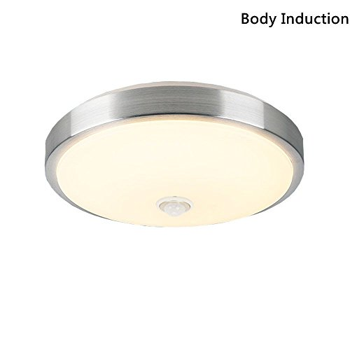 AFSEMOS 12W 10-inch Motion Sensor LED Flush Mount Ceiling Light,Aluminum Acrylic Ceiling Fixture,Surface Mounted Downlight,Auto Switch,With Built-in Body Detector,Warm White 3200K,960lm Ceiling Motion Detector
