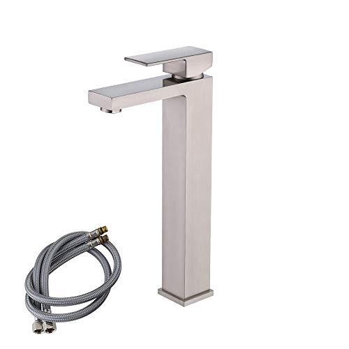 (KES cUPC NSF Certified BRASS Lead-Free Brass Bathroom Sink Faucet Single Handle Lavatory Single Hole Vanity Sink Faucet Brushed Nickel, Tall, L3120BLF-2)