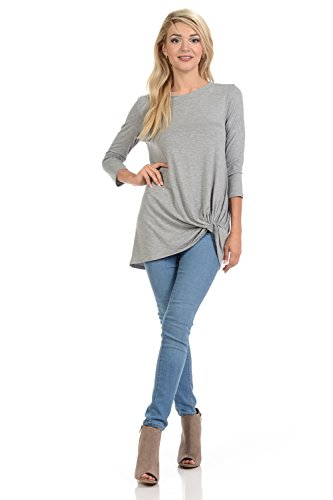 Knot Dinner (Pastel by Vivienne Women's Tunic Top with Knot Detail Medium Heather Grey)