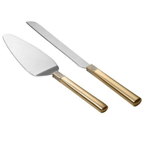 Waterford Lismore Diamond Gold Cake Knife & - Waterford Server Pie