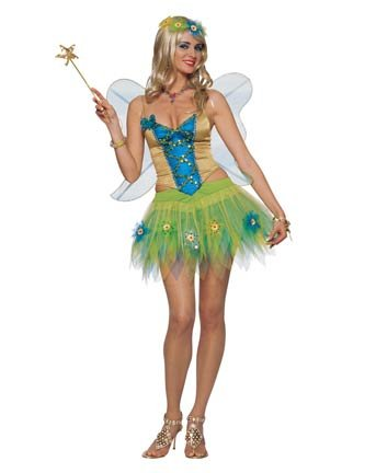 Woodland Flower Fairy Costume Set w Wings 4pc A