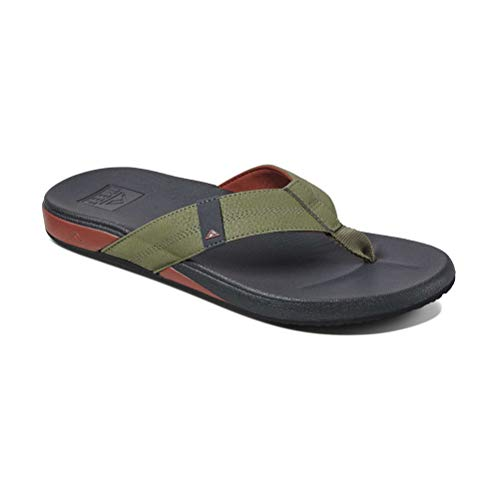 Reef Men's Cushion Bounce Phantom Sandal, Olive/Red, 13
