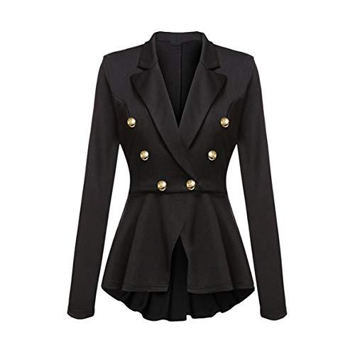 (Fashion Slim Fit Women Blazer Jackets Womens White Blue Ladies Blazer,Black,L)