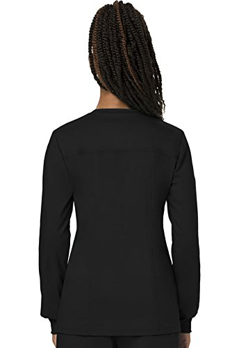 WW Revolution by Cherokee Women's Snap Front Warm-up Jacket, Black, 2XL by WW Revolution by Cherokee (Image #2)