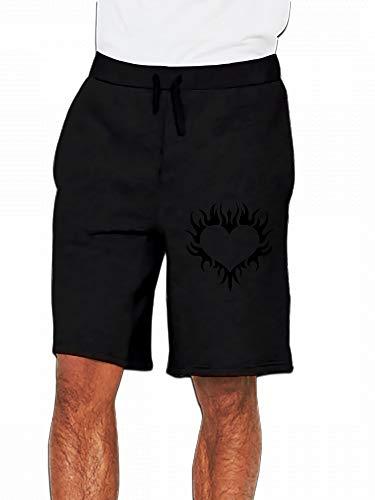 Flaming Heart Tattoo - Gothic Flaming Henna Tattoo Heart Mens Casual Short Trouser Black