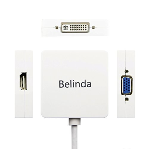 Belinda 3in1 Mini Displayport to HDMI DVI VGA Adapter Cable for Mac Book, iMac, Mac Book Air, Mac Book Pro and Mac Mini