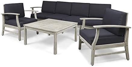 Great Deal Furniture Lorelei Outdoor 7 Piece Acacia Wood 4-Seater Sofa and Club Chairs Set