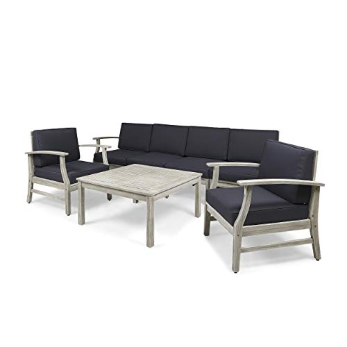 Great Deal Furniture Lorelei Outdoor 7 Piece Acacia Wood 4-Seater Sofa and Club Chairs Set, Light Gray and Dark Gray