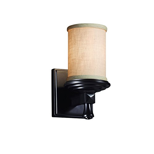 (Justice Design Group Lighting FAB-8531-10-CREM-MBLK Textile Deco 1-Light Wall Sconce Cylinder with Flat Rim Matte Black Finish and Cream Fabric Shade)