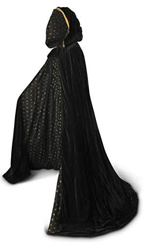 (Artemisia Designs Velvet Hooded Renaissance Cloak Medieval Cape Lined with Satin Men and Women)