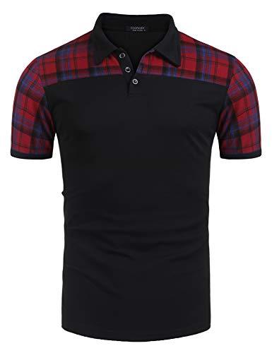 COOFANDY Men's Fashion Plaid Stitching Polo Casual Short-Sleeve Polo T-Shirts,Black,Small