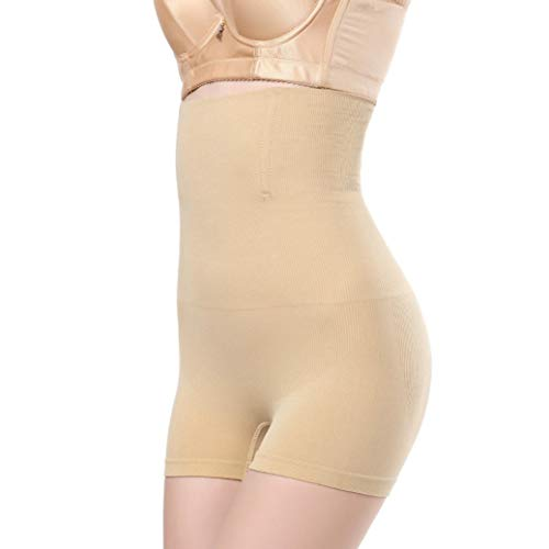 HIORAM Woman High Waist Control Panties Tummy Control Body Shape Pants Seamless Underwear Beige