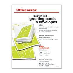 Office Depot Premium Matte Quarter-Fold Greeting Cards with Envelopes (25 Cards with Envelopes)