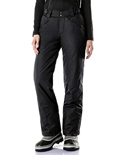 TSLA Women's Rip-Stop Snow Pants Windproof Ski Insulated Water-Repel Bottoms, Snow Pants(xkb90) - Black, Large (Waist:29.5~31.5,Hips:43.5~44.5 Inch)