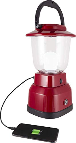 Enbrighten LED Lantern, Battery Operated, USB Charging, Red Finish, 800 Lumens, 200 Hour Runtime, 3 Light Levels, Ideal for Outdoors, Camping, Hurricane, Storm, Tornado & Emergency, 29923]()